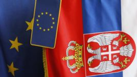 EU and Serbian flag together